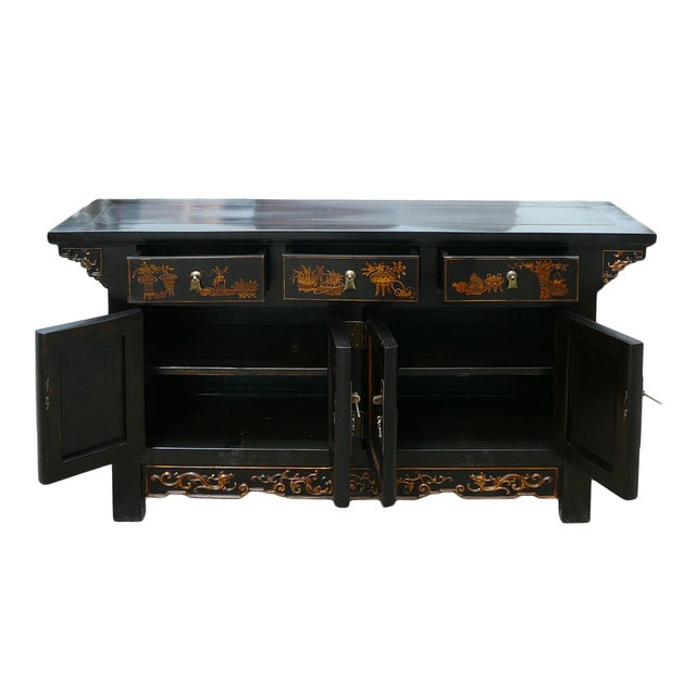 Image of Vintage Golden Graphic Low Console Table