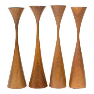 Set of Four Turned Walnut Candlesticks by Rude Osolnik