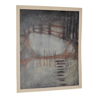 Vintage Abstract Pastel Painting by Charles Adams c.1980