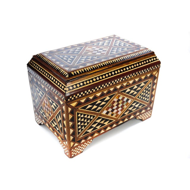 19th Century Syrian Inlaid Wooden Treasure Chest - Image 1 of 9