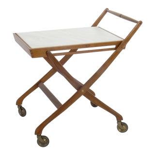 Danish Mid-Century Modern Teak & Marble Collapsable Bar Cart