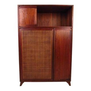 Mid-Century Modern Cane Front Shelf Cabinet