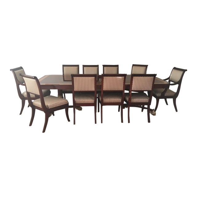 Baker Mahogany & Gold Regency Dining Set - Image 1 of 5