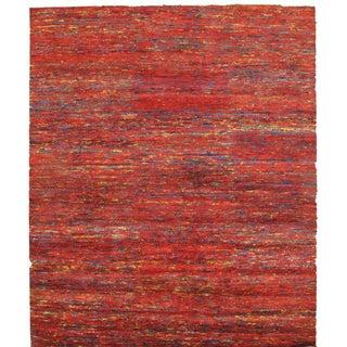 Pasargad Red Sari-Silk Modern Rug - 6′ × 9′