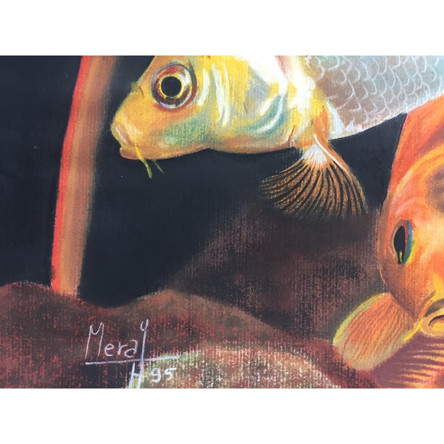 Vintage Koi Fish Original Pastel Framed - Image 4 of 6