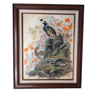 Vintage Oil Painting - Evan Keith Soward Quails