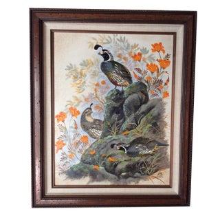 Vintage Oil Painting - Evan Keith Soward Quails