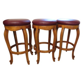 Traditional Burgundy Leather Bar Stools - Set of 3