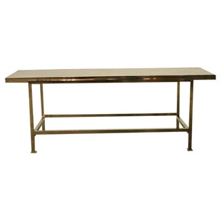 Brass and Leather Coffee Table by Edward Wormley for Dunbar