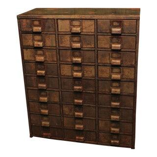 Vintage Industrial 27 Drawer Metal Cabinet