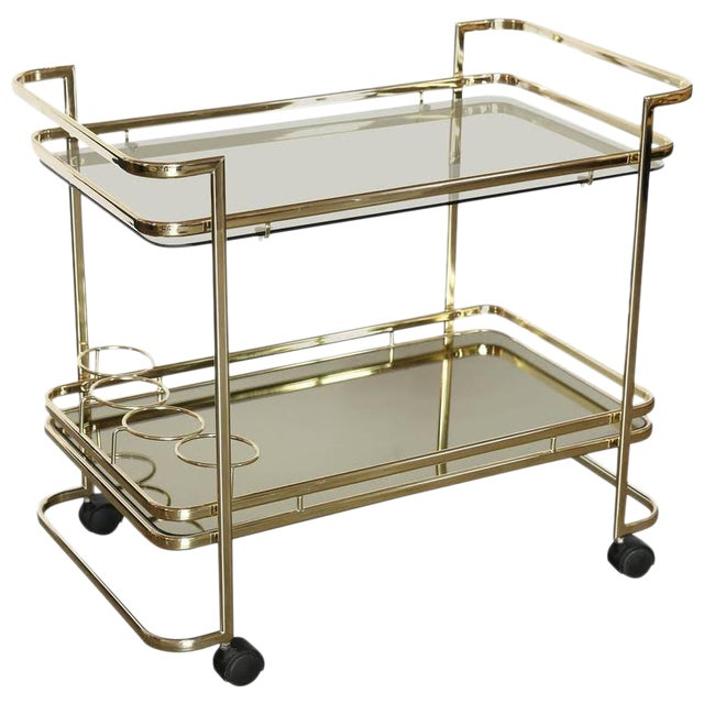 Gold Metal, Glass and Mirror Two-Tier Bar, Tea Cart or Serving Cart - Image 1 of 8
