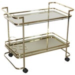 Image of Gold Metal, Glass and Mirror Two-Tier Bar, Tea Cart or Serving Cart