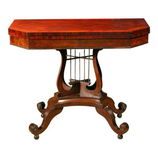 Classical Mahogany Crossed-Lyre Card Table