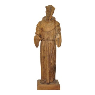 Vintage Carved Spanish Colonial Figure of a Franciscan Monk