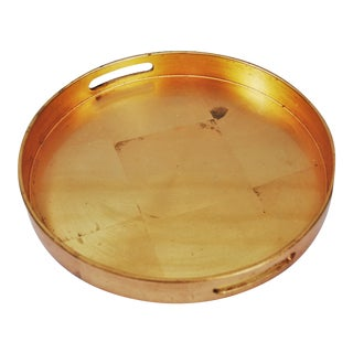 Round Lacquered Gold Leaf Serving Tray