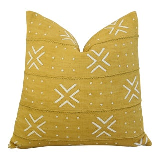 Gold/Yellow & White Boho-Chic Mali Tribal Design Pillow