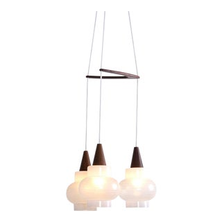 Rispal Three Glass Shade Pendant Lamp, France, 1950s