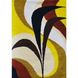 1970s Abstract Wool Rug Wall Hanging - 4' x 6'
