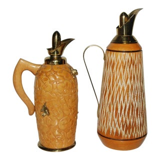 Aldo Tura Wood & Brass Decanters - A Pair
