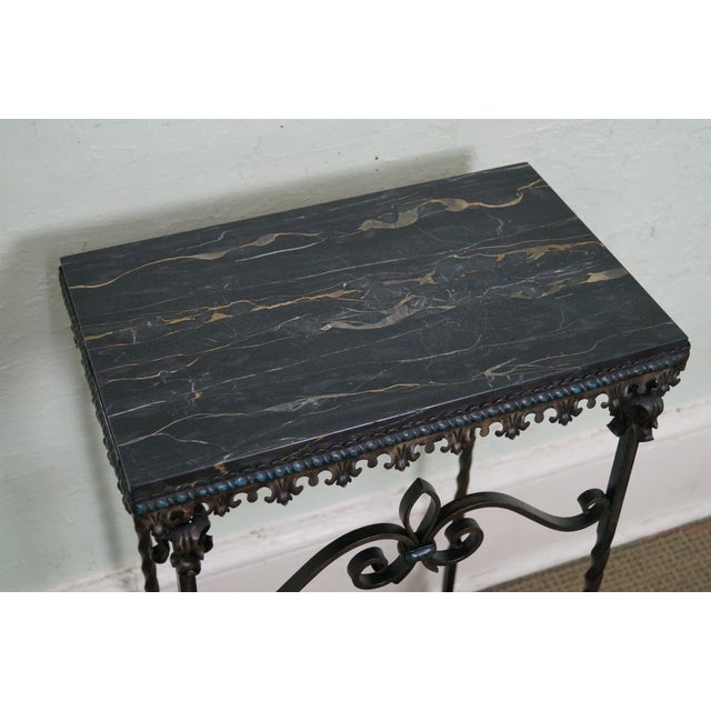 Antique Gothic Wrought Iron Marble Console Table - Image 5 of 10