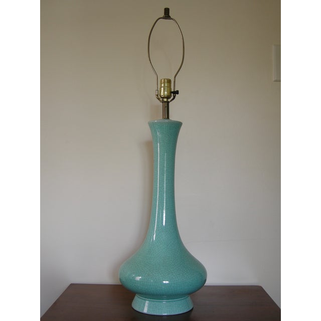 Vintage Mid-Century Modern Turquoise Table Lamp - Image 2 of 7