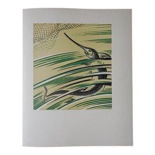 Vintage Ltd. Ed Woodcuts by J. Kefalleno-Greece-Sawfish