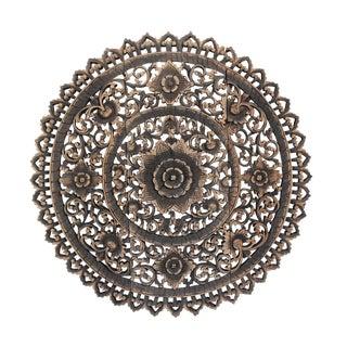 """Antique Burn Carved Medallion Panel 36"""""""
