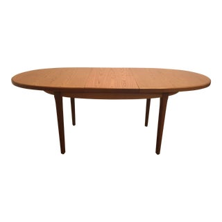 Mid-Century Teak Oval Dining Table With Butterfly Leaf