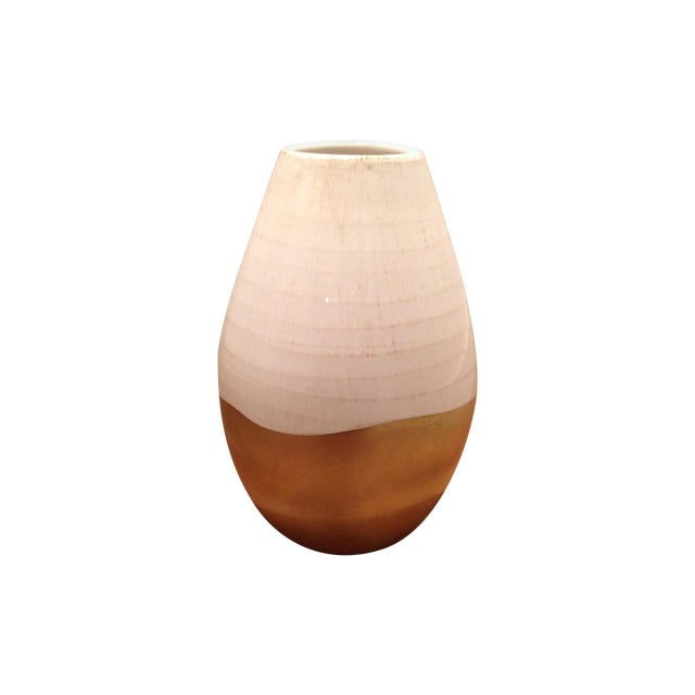 Image of Antiqued Italian White & Gold Ceramic Vase