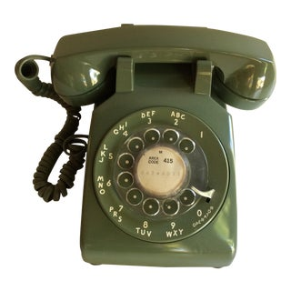 1960's Avocado Green Western Electric Dial Up Telephone