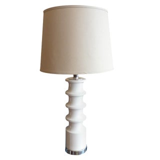 White Ribbed Ceramic Table Lamp
