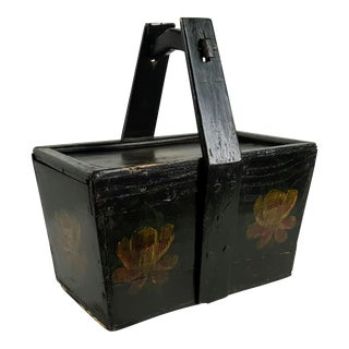 Asian Decorated Lacquered Handled Box