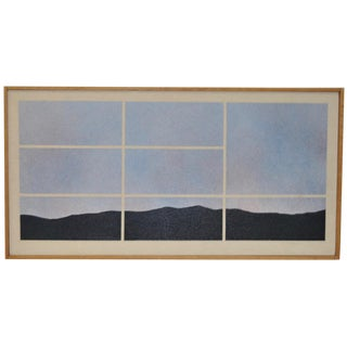 Circa 1978 Vintage Abstract Mountain Landscape Painting