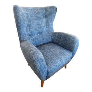 Blue Plush Wingback Armchair