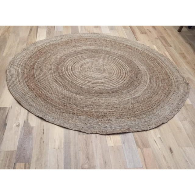 Modern Nature Rug: Contemporary Natural Round Jute Rug - 7' X 7'
