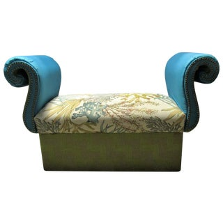1940's Green & Turquoise Scroll Arm Bench, Coastal