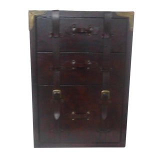 Leather Wood 3 Drawer Side Chest