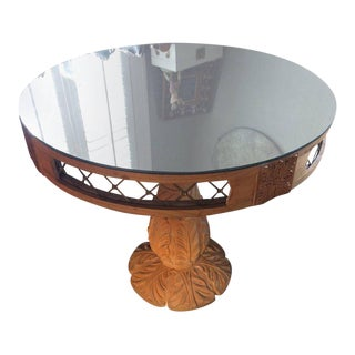 Carved Wood & Mirrored Top French Side Table