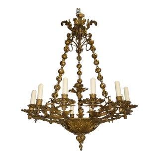 Antique chandelier, gilded iron