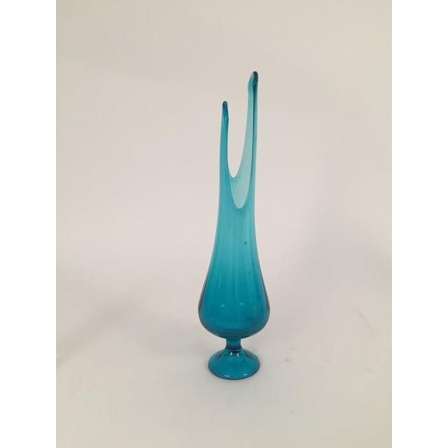 Vintage Blue Stretched Handblown Vase - Image 3 of 4