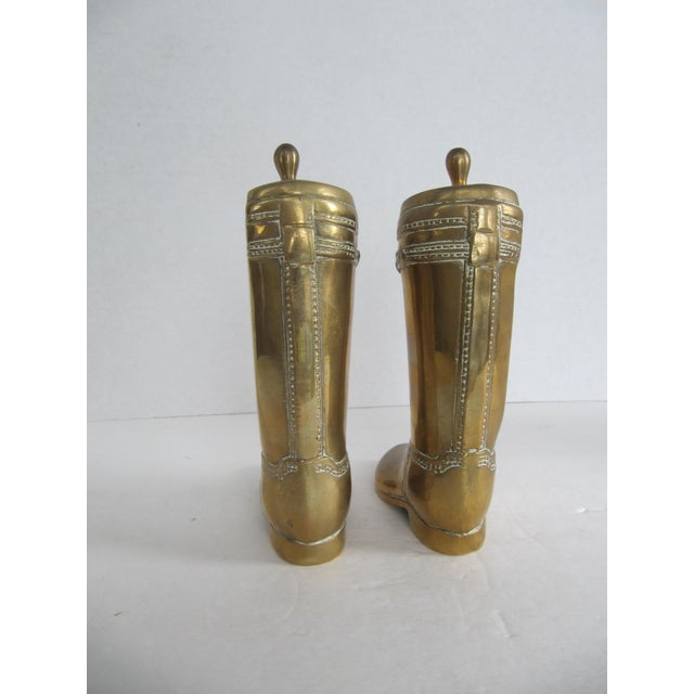 Vintage Brass Equestrian Boot Bookends - A Pair - Image 6 of 9