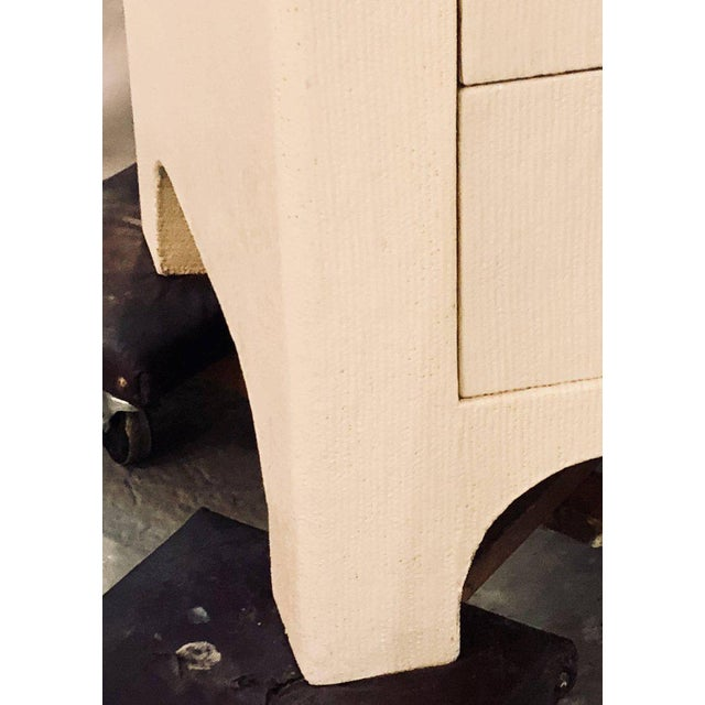 Karl Springer Style Linen Wrapped Commodes or Chests - A Pair - Image 9 of 11