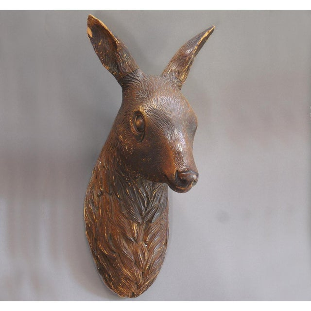Image of German Carving of a Deer Head (#12-67B)