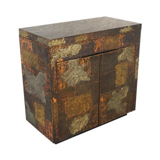 Exceptional Patchwork Flip- Top Bar Cabinet by Paul Evans