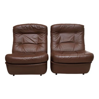 Airborne International Leather Lounge Chairs - A Pair
