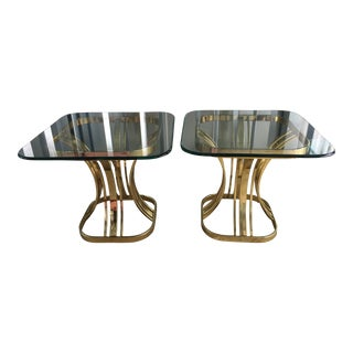 1970s Gold Brass & Glass End Tables - A Pair