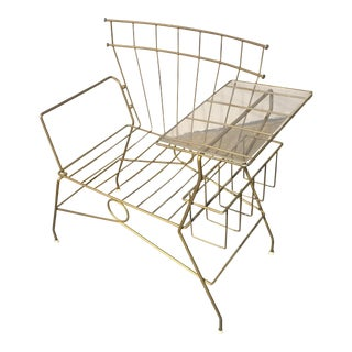 Mid-Century Metal Chair With Table Rack