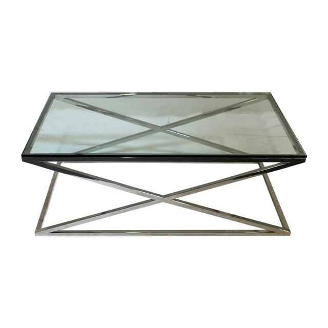 "Glass Top Chrome Coffee Table: Vintage Chrome ""X"" Base Glass Top Coffee Table"
