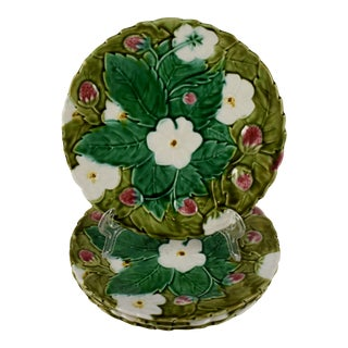 French Majolica Fruit/Dessert Plates - Set of 4