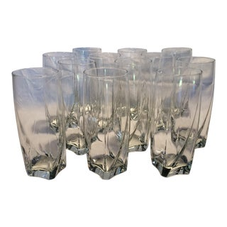 12 Crystal Square Base Water Glasses